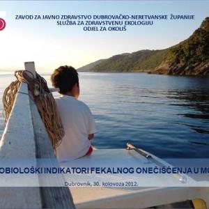 Predavanje o mikrobiološkim indikatorima fekalnog onečišćenja u moru